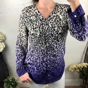 Chico's {0} Ombre Animal Print Button Down Top